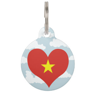 Vietnamese Flag on a cloudy background Pet ID Tag