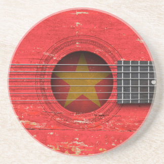 Vietnamese Flag on Old Acoustic Guitar Coaster