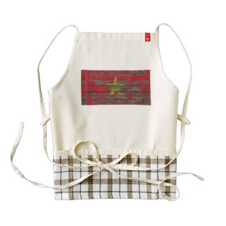 Vietnamese Flag on Rough Wood Boards Effect Zazzle HEART Apron