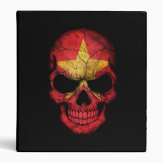Vietnamese Flag Skull on Black 3 Ring Binder