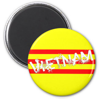 Vietnamese Flag (with name) (round magnet) 2 Inch Round Magnet