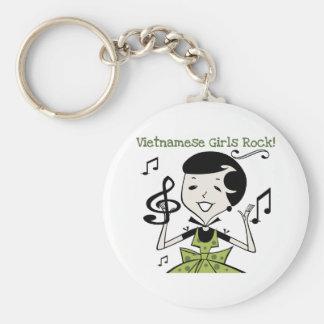 Vietnamese Girls Rock Basic Round Button Keychain