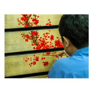 Vietnamese Lacquer Painter Postcard