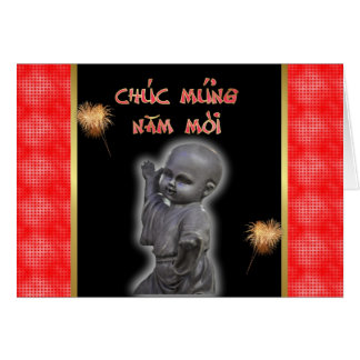 Vietnamese New Year of the  Happy New Year Buddha Greeting Cards