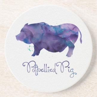 Vietnamese Potbellie Pig Watercolor Design Coaster