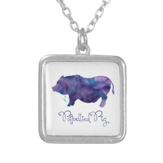 Vietnamese Potbellie Pig Watercolor Design Silver Plated Necklace