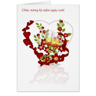 Vietnamese Wedding Anniversary With Champagne Card
