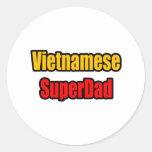 Vietnamita SuperDad Pegatina Redonda