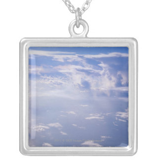 View above scattered cloud silver plated necklace