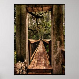 View across a suspension bridge poster