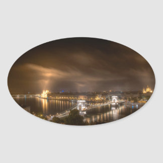 View across Budapest from Buda Castle Oval Sticker