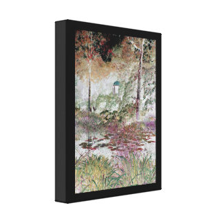 View across lily pond with red and orange leaves canvas print
