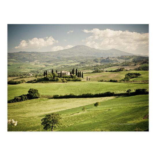 View across Tuscan landscape to farmhouse and 2 Postcard