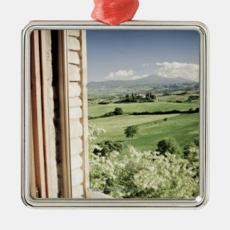 View across Tuscan landscape to farmhouse and Metal Ornament