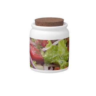 View angle on a fragment of vegetarian salad candy jar