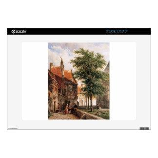 """View behind the Grote Kerk in Naarden by Cornelis 15"""" Laptop Skin"""