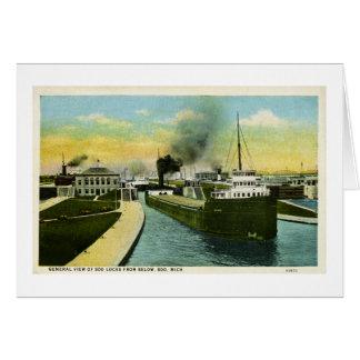 View Below the Soo, Soo Locks, Michigan Greeting Card