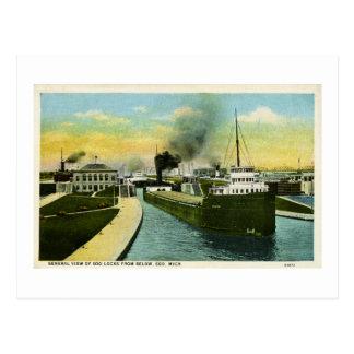 View Below the Soo, Soo Locks, Michigan Postcard