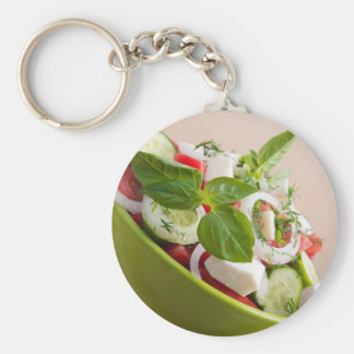 View closeup on a green bowl with a useful salad keychain