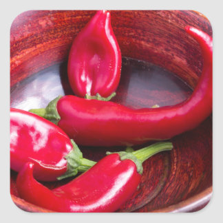 View closeup on hot red chili peppers square sticker