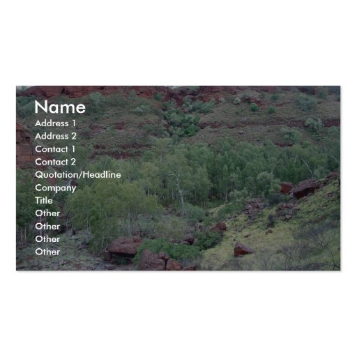 View Down Valley Of Bus-Sized Boulder Washed Down Business Card Template