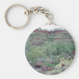 View Down Valley Of Bus-Sized Boulder Washed Down Key Chain