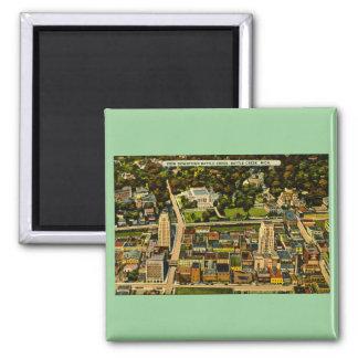 View Downtown Battle Creek, Michigan Vintage 2 Inch Square Magnet