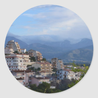 View From A Calabrian Hill Town Classic Round Sticker