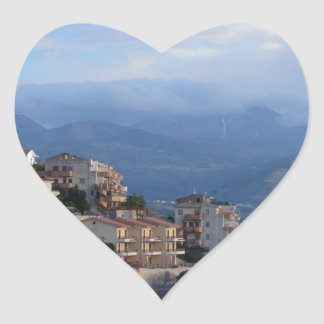 View From A Calabrian Hill Town Heart Sticker