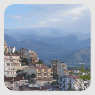 View From A Calabrian Hill Town Square Sticker