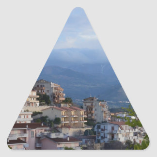 View From A Calabrian Hill Town Triangle Sticker