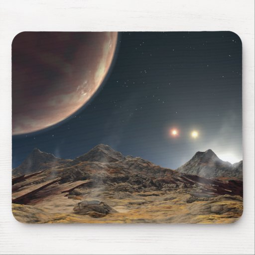 View from a hypothetical moon in orbit mouse pad