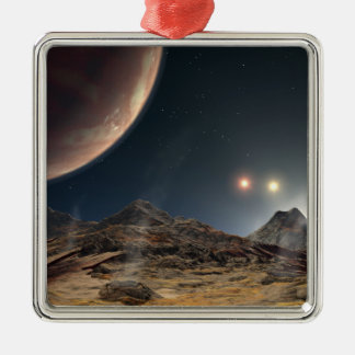 View from a hypothetical moon in orbit christmas tree ornament