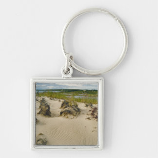 View from a sandy hilltop of lakes and hills on Silver-Colored square keychain