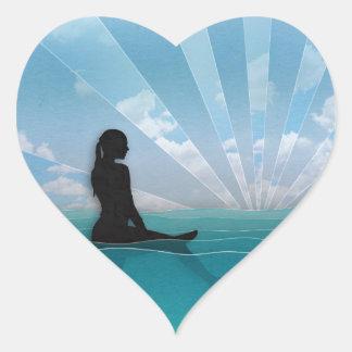 View from a Surfboard Heart Sticker