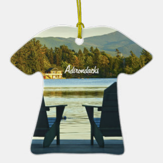 View from Adirondack Chairs in the Adirondacks, NY Double-Sided T-Shirt Ceramic Christmas Ornament