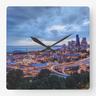 View from Beacon Hill, Pacific Med Center Square Wall Clock