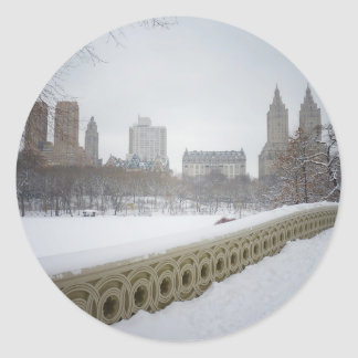 View From Bow Bridge, Central Park, New York City Classic Round Sticker