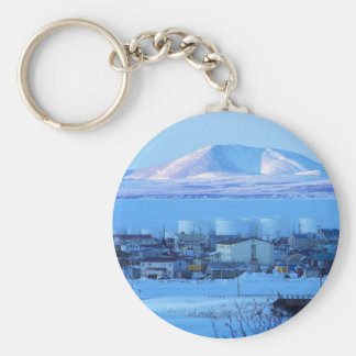 view from cemetary basic round button keychain