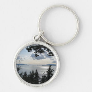View From Chuckanut Drive Silver-Colored Round Keychain