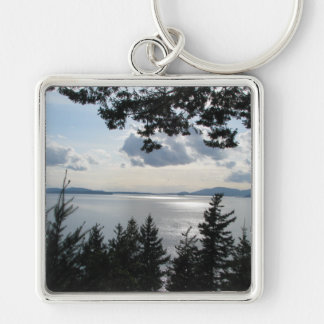 View From Chuckanut Drive Silver-Colored Square Keychain