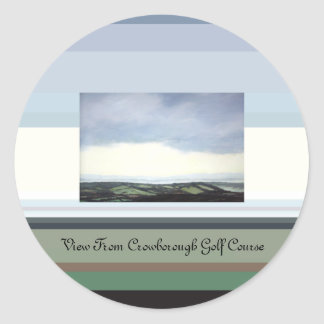 View From Crowborough Golf Course Classic Round Sticker