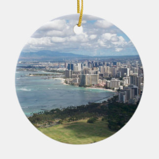 VIEW FROM DIAMOND HEAD- OAHU, HAWAII Double-Sided CERAMIC ROUND CHRISTMAS ORNAMENT