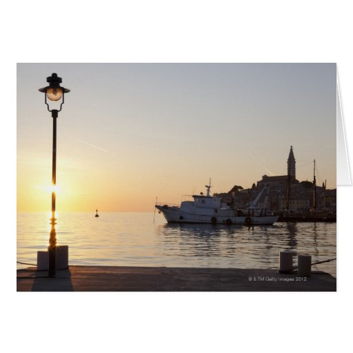 View from harbor of Rovinj, Croatia, at sunset Card