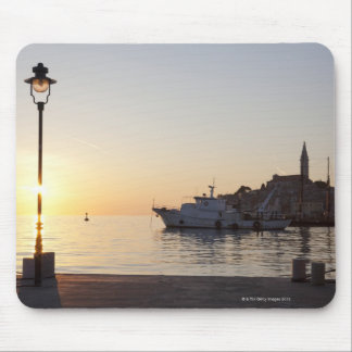 View from harbor of Rovinj, Croatia, at sunset Mouse Pad