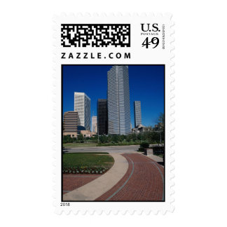 View from Houston Center Park, dominated by the Ch Postage Stamps