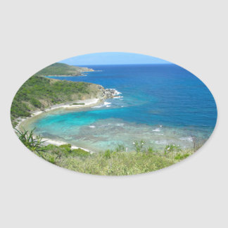 View From Norman Island Oval Sticker