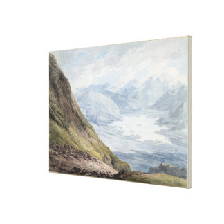 View from Skiddaw over Derwentwater (w/c over penc Canvas Print