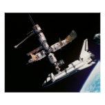 View from Soyuz of Atlantis docked with Mir Poster