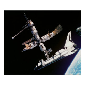 View from Soyuz of Atlantis docked with Mir Print